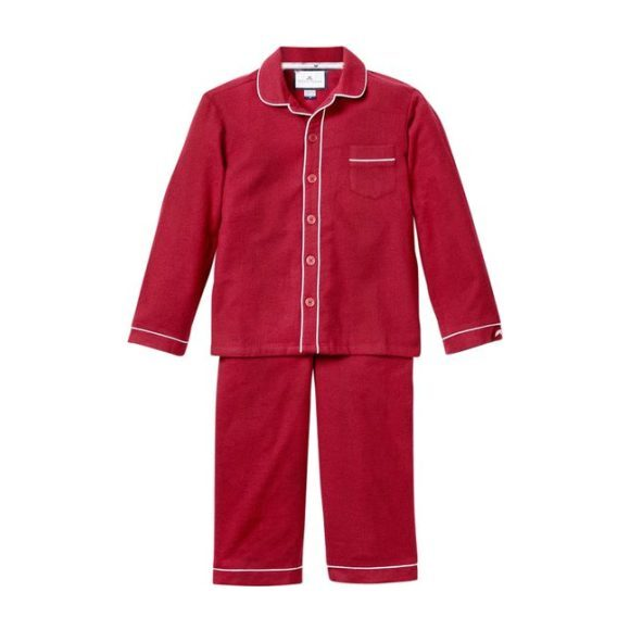 Burgundy Flannel Pajamas with Double Piping