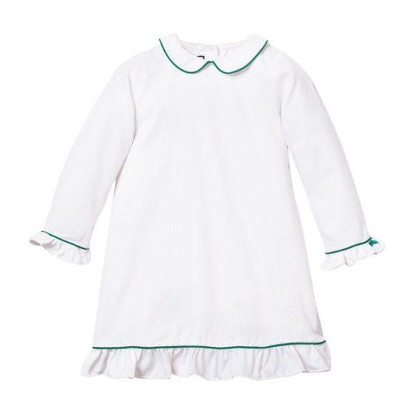 White Sophia Nightgown, Green Piping