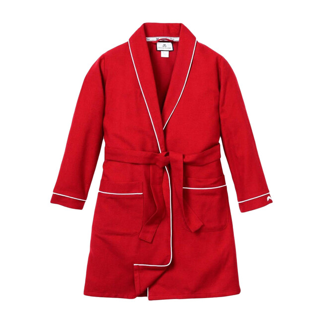 Red Flannel Robe with White Piping