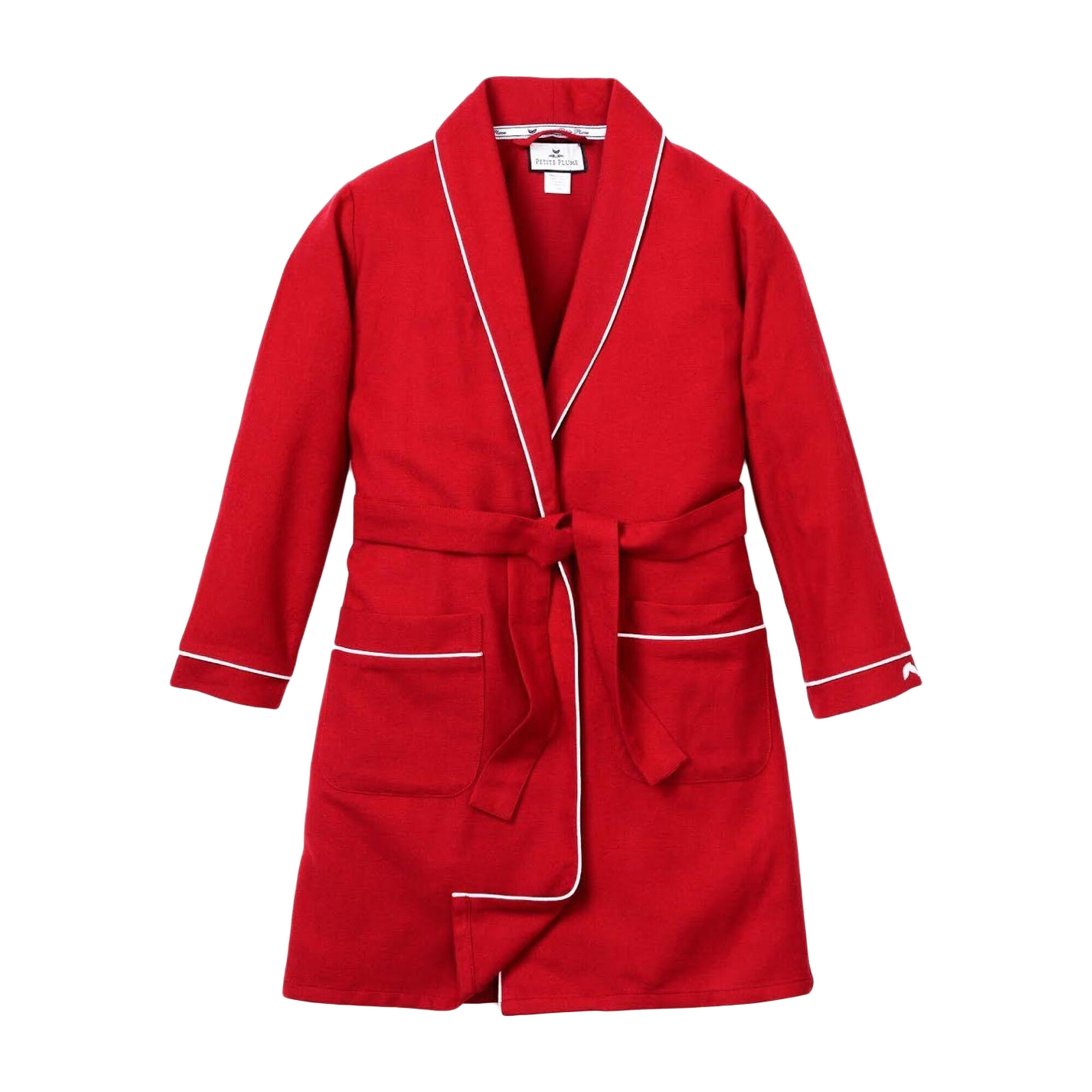 Red Flannel Robe With White Piping Home Bath Beauty Robes Slippers Maisonette
