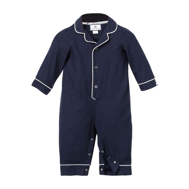 Navy Romper with White Piping