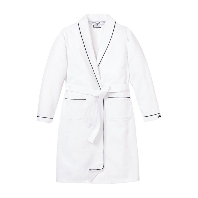 White Flannel Robe with Navy Piping - Robes - 1