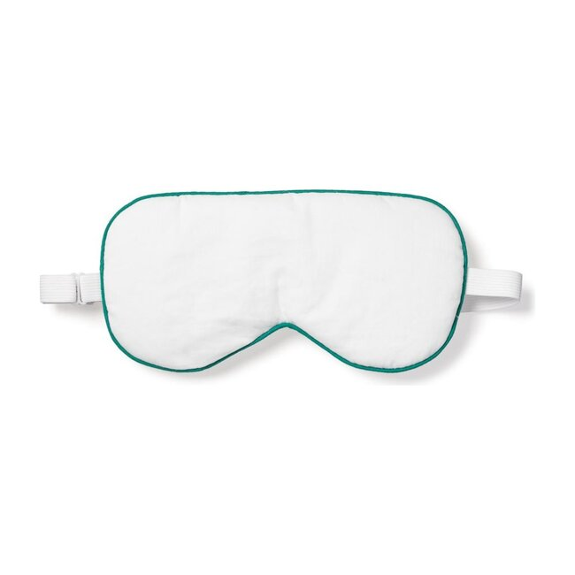 Adult Traditional Eye Mask, White & Green Piping