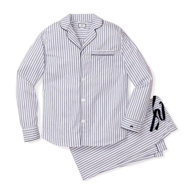 Women's Twill Pajama Set, Navy French Ticking - Pajamas - 1