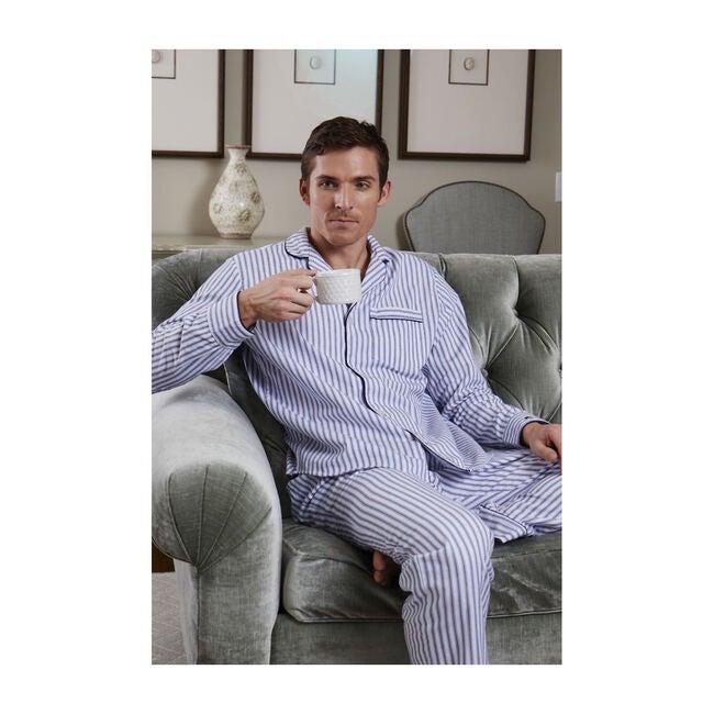 Men's Twill Pajama Set, Navy French Ticking
