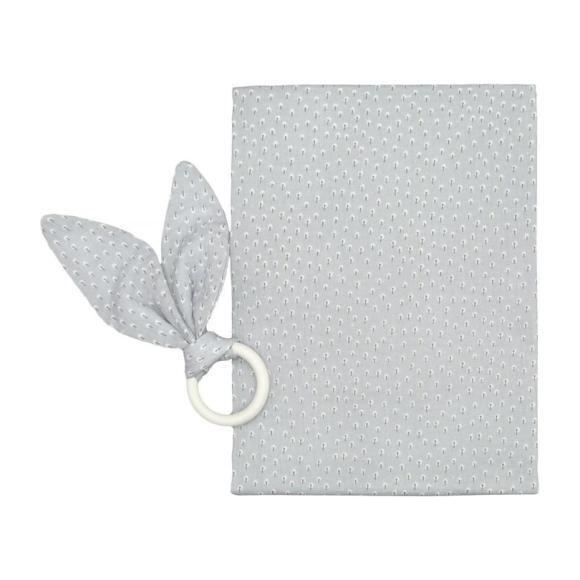 Burping Cloth & Teething Ring Set, Grey