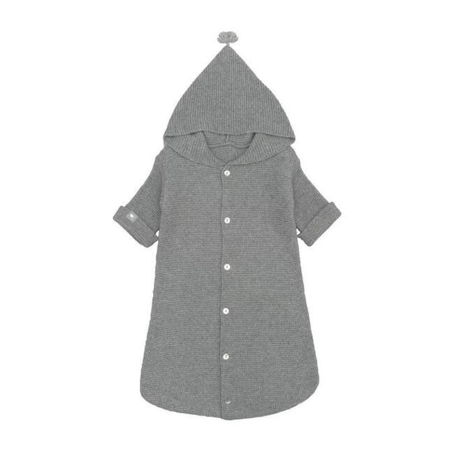 Hooded Poncho, Grey