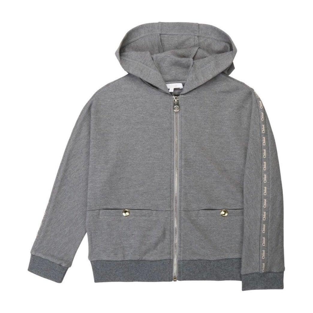 Zip up Hooded Jacket with Logo Sleeve, Grey