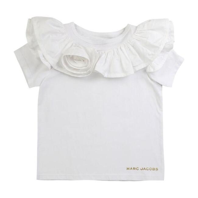 Floral Ruffle T-Shirt, White