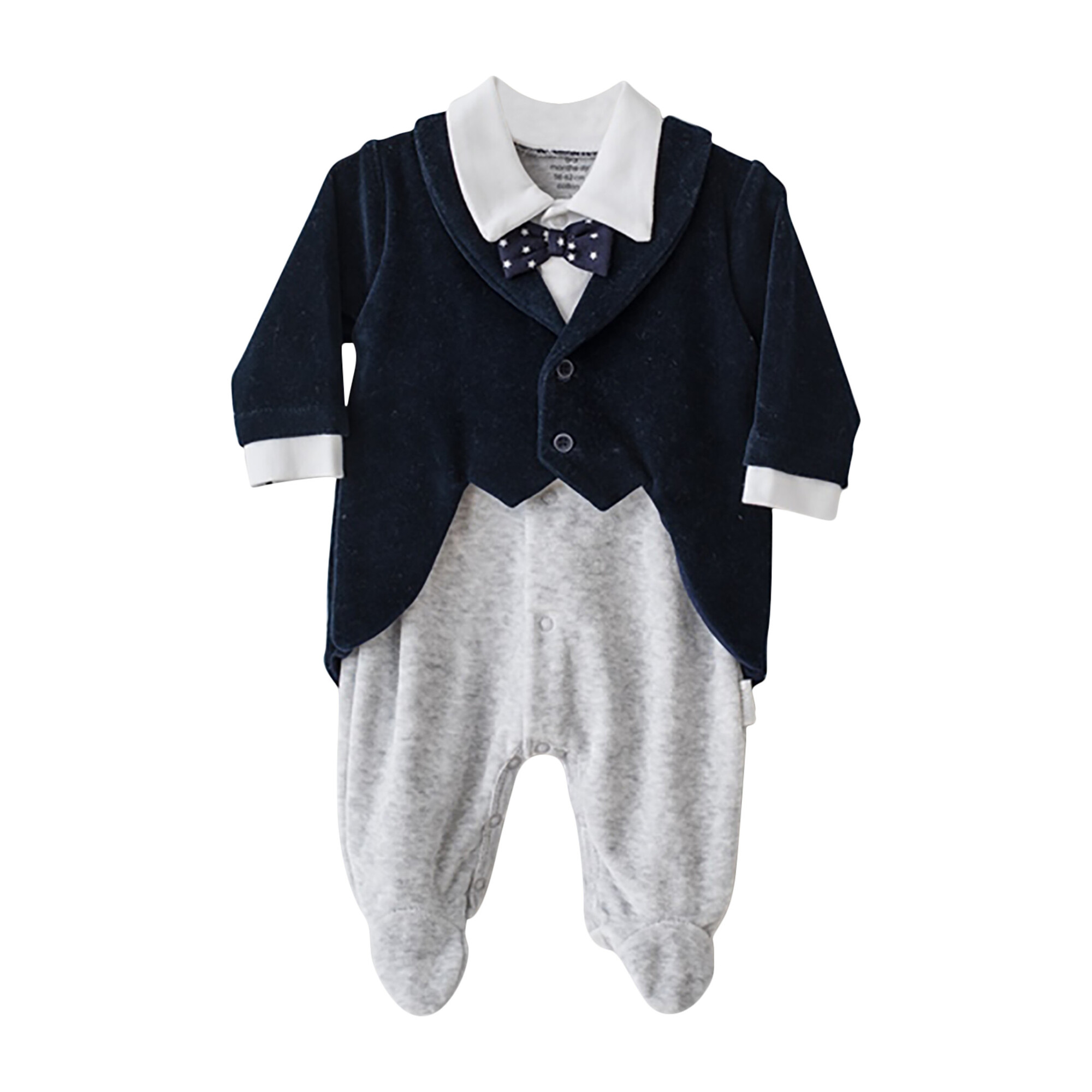 Velvet Tuxedo Bodysuit, Navy