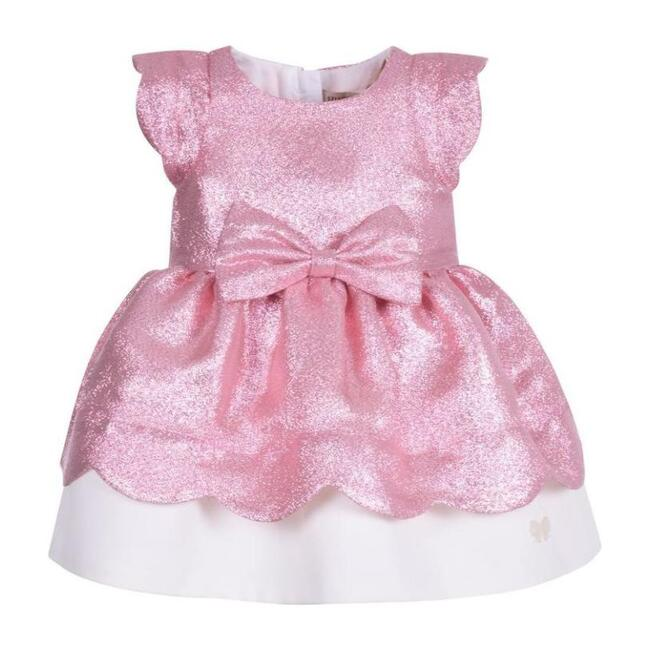 Scalloped Bodice Dress & Bloomers, Pink