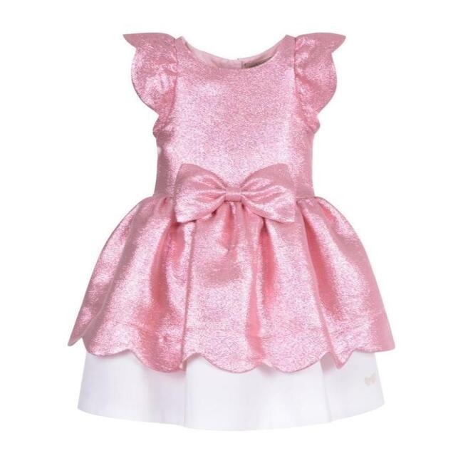 Scalloped Bodice Dress, Pink