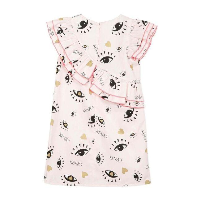 Satin Iconic Eyes Print Dress, Pink