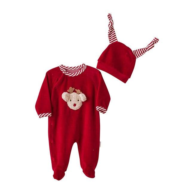 Reindeer Bodysuit & Hat Set, Red