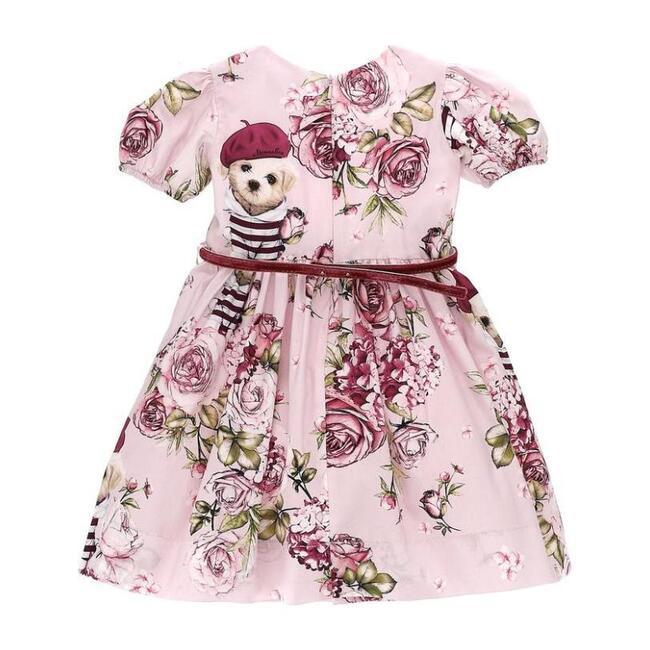 Puppy & Rose Print Dress, Pink