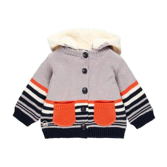 Striped Knitted Cardigan, Grey
