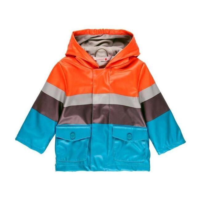 Striped Hooded Raincoat, Stone
