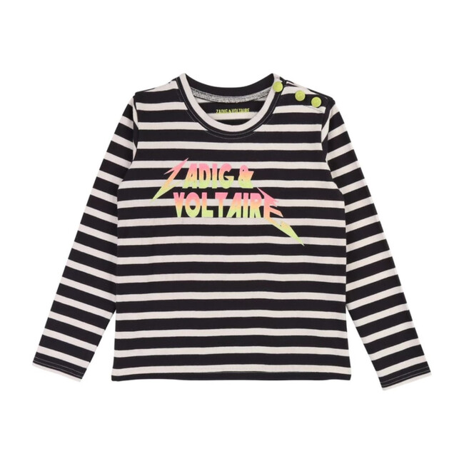 Striped Logo T-Shirt, Navy
