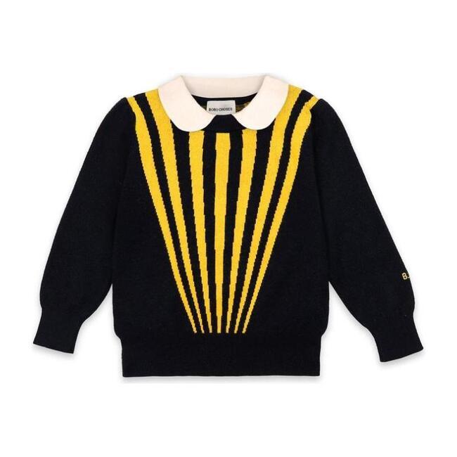 Striped Collar Jumper, Navy