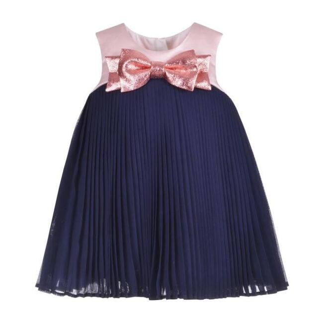 Pleated Trapeze Dress & Bloomers, Navy