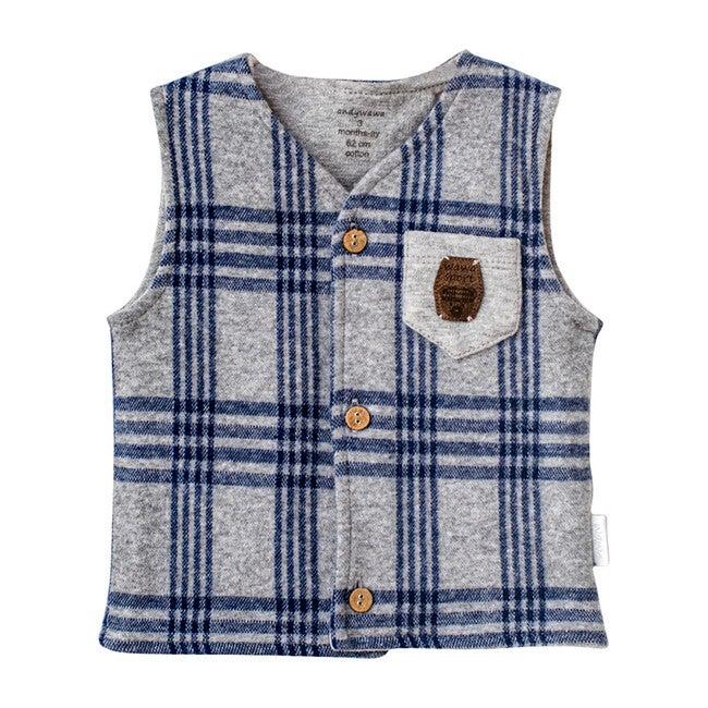 Plaid Pocket Vest, Navy