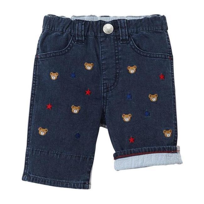 Bear and Star Print Shorts, Indigo - Shorts - 1