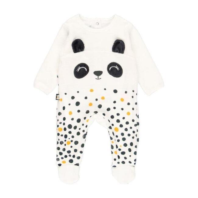 Panda Velour Playsuit, Cream