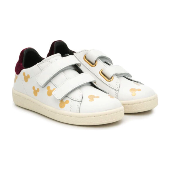 Mickey Sneakers, White & Gold
