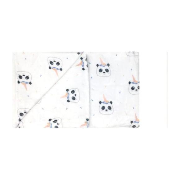 Panda Bear Print Blankie, White