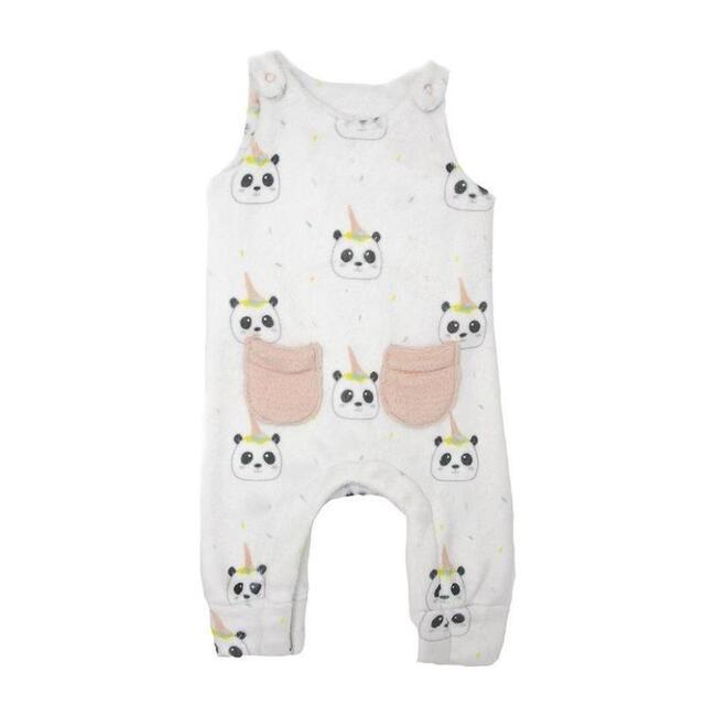 Panda Print Bodysuit, Pale Pink