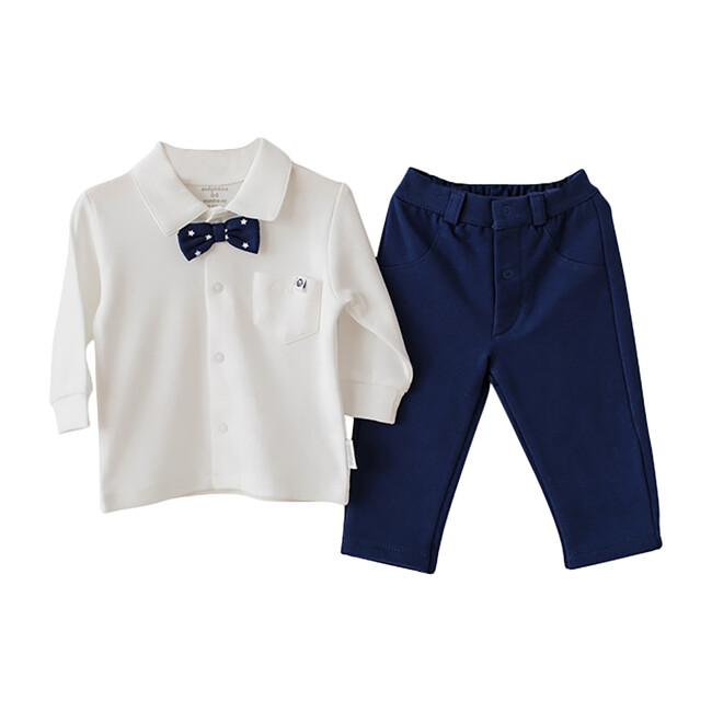 Navy Chic Outfit Set, White