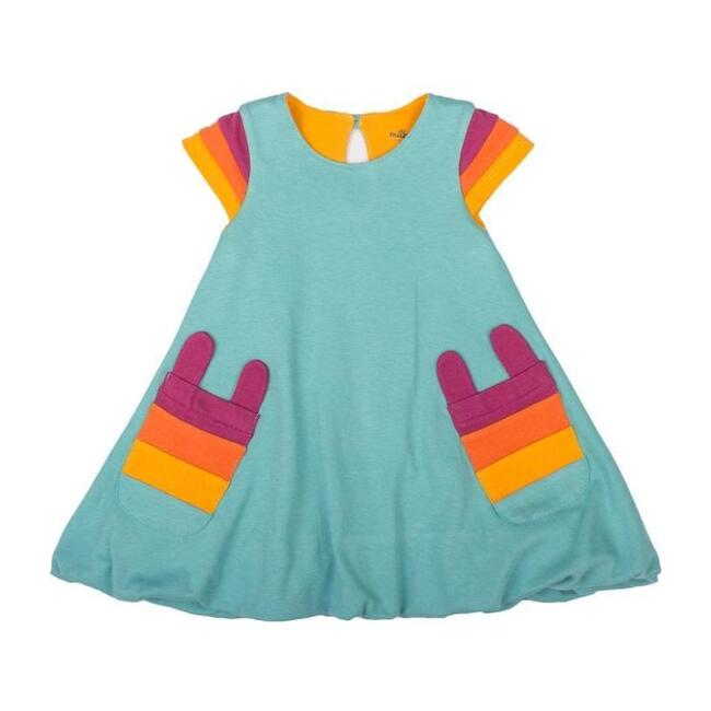 Rainbow Sleeve Bubble Dress, Teal