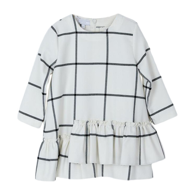 Check Ruffle Dress, White