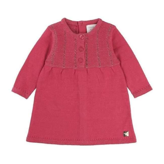 Fancy Knitted Dress, Fuchsia - Dresses - 1