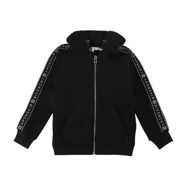 Logo Tape Hooded Sweatshirt, Black