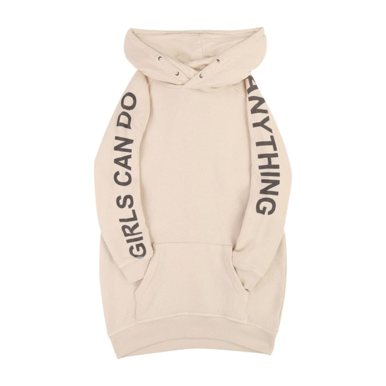 Girls Can Do Anything Hooded Dress, Ivory