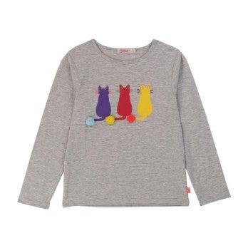 Cats T-Shirt, Light Grey - Tees - 0