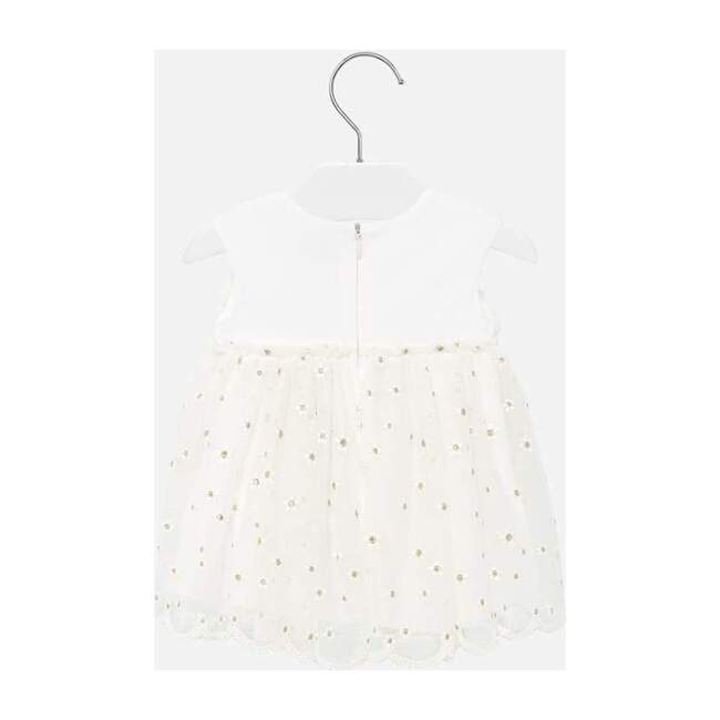 Embroidered Tulle Dress, White