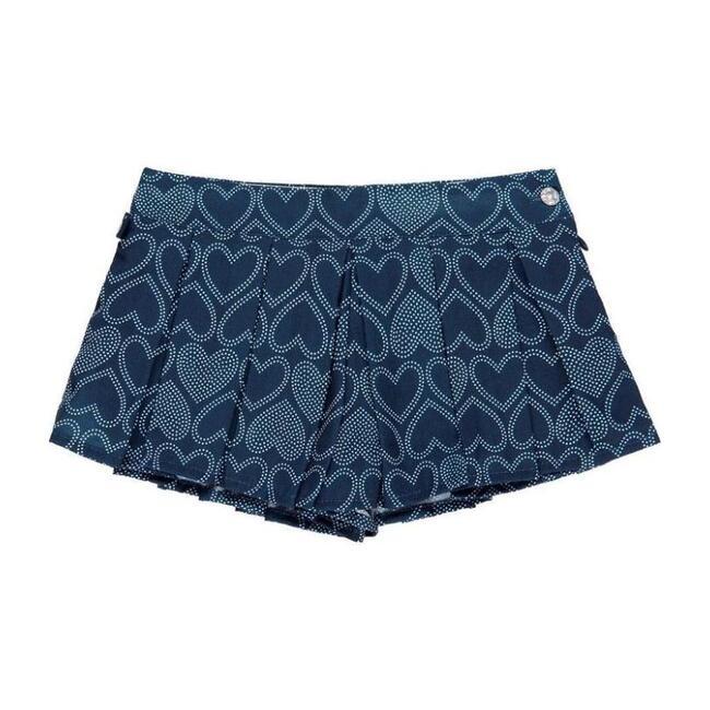 Heart Print Skirt, Navy