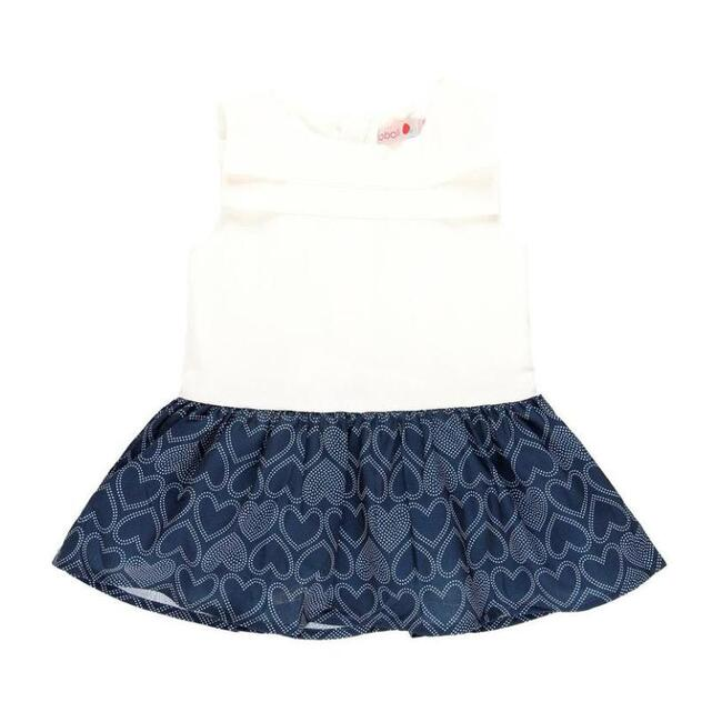 Heart Jersey Dress, White & Navy