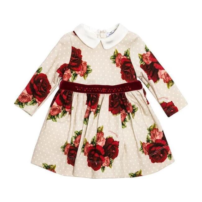Rose & Spot Print Dress, Ecru