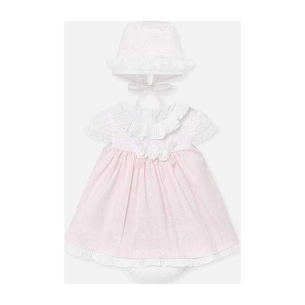 Baby Rose Dress & Hat Set, Pink
