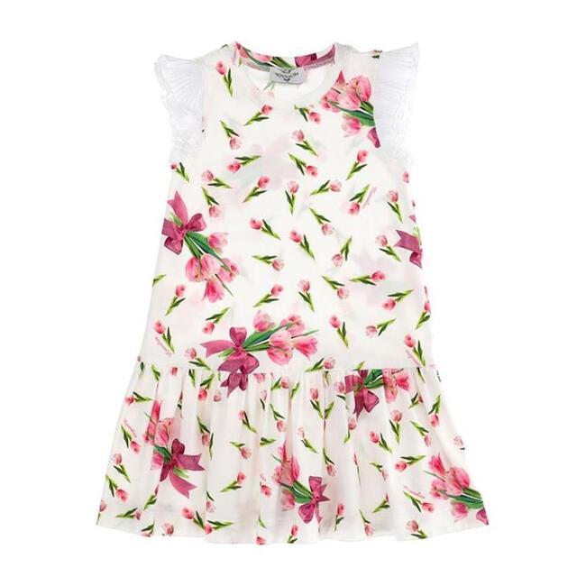 Tulips Print Dress, White