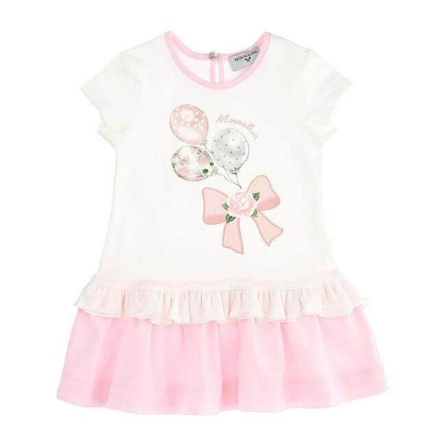 Pink Balloon Dress, White
