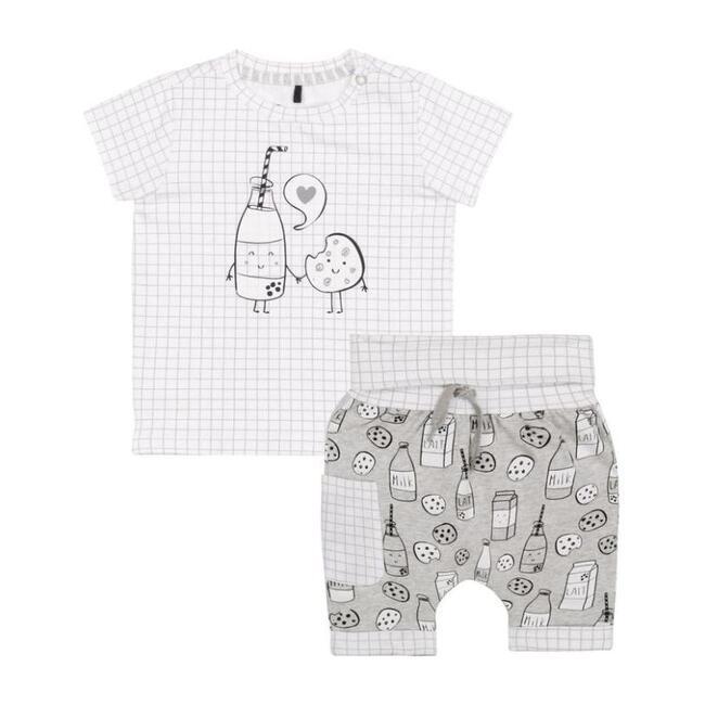 """""""Milky Tummy"""" Top & Shorts Set, Gray"""