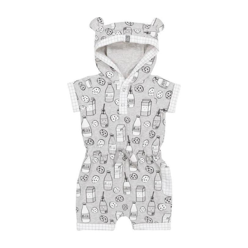 """Milky Tummy"" Hooded Romper, Gray"
