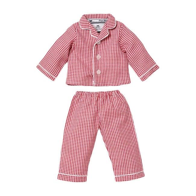Red Mini-Gingham Doll Pajamas