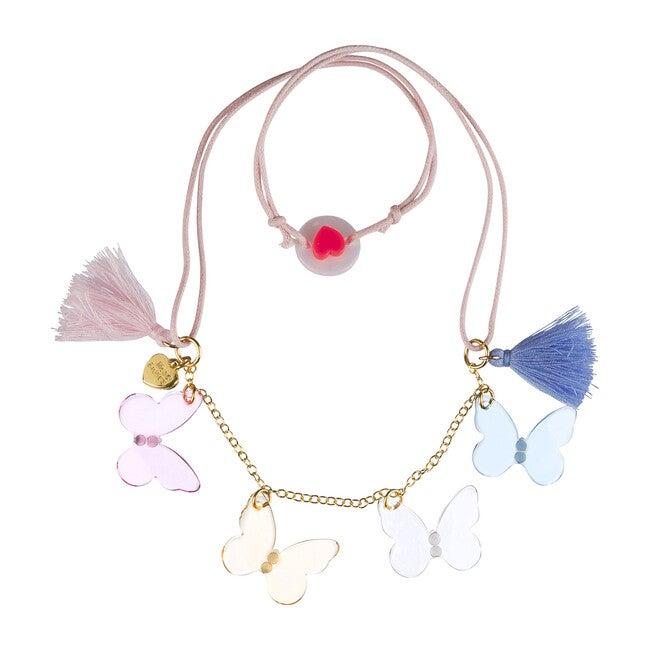 Multi Butterfly Necklace, Pastel