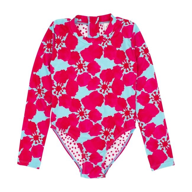 Wave Chaser Surf Suit Long Sleeve, Pink Blue