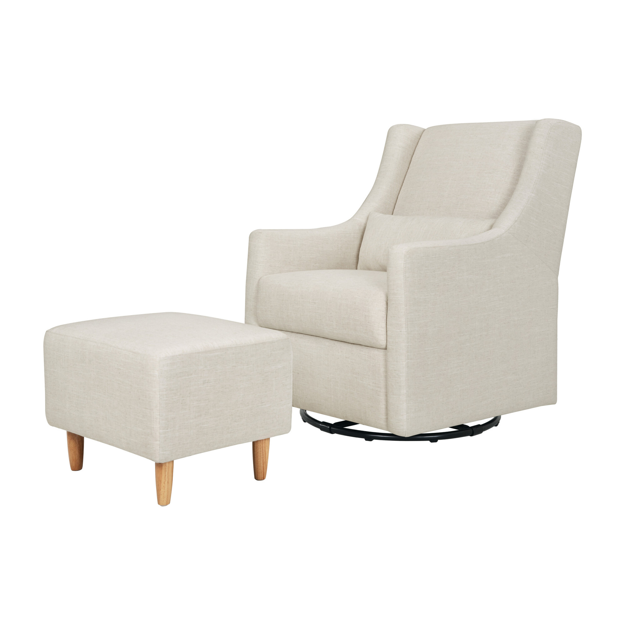 Toco Swivel Glider and Stationary Ottoman, White Linen